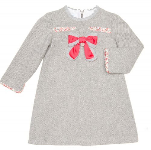 Gray Tweed Dress with Coral Red Bow