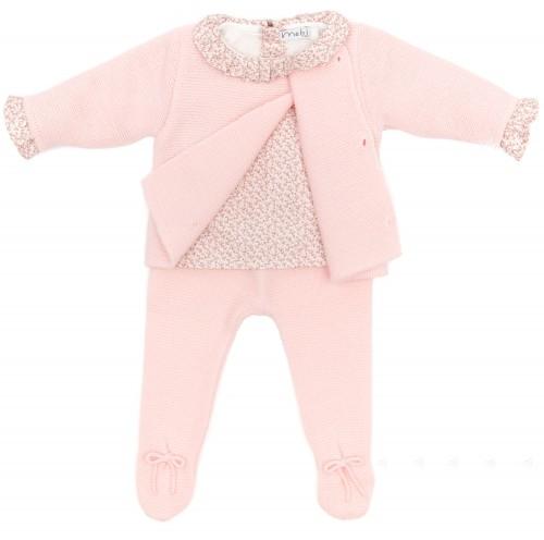 Baby Pink & Floral Print 3 Piece Set