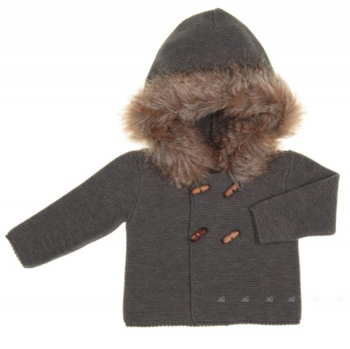 Gray Knitted Cardigan With Synthetic Fur Hood