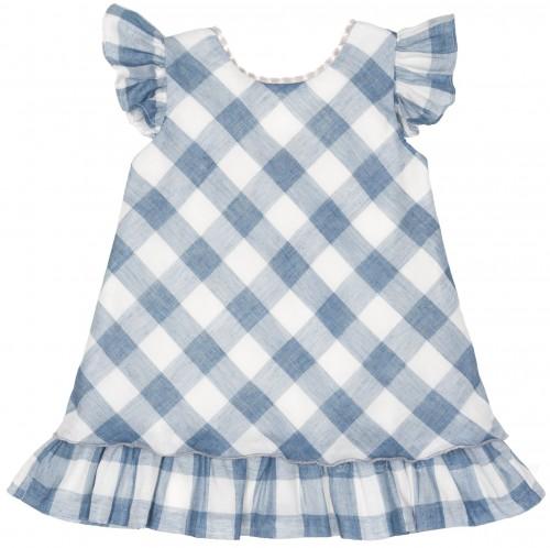 Girls Blue Gingham Dress with Fringes