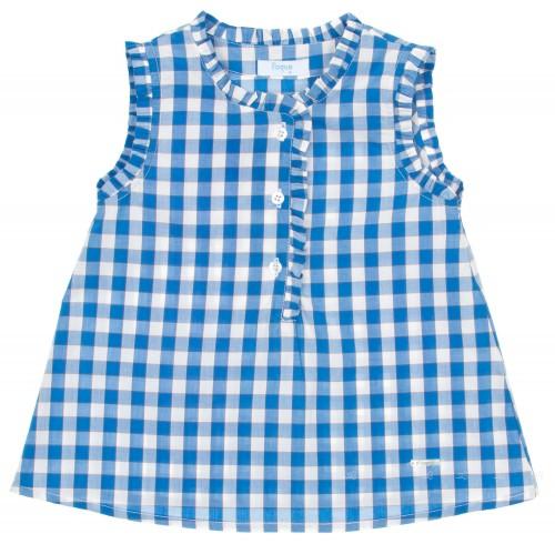 Girls Blue Check Print Blouse