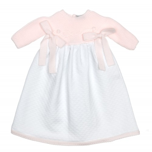 Baby Pink & White Day Gown with Bows