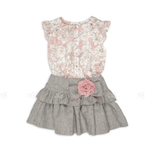 Blusk Pink Floral Top & Striped Ruffle Skirt Set