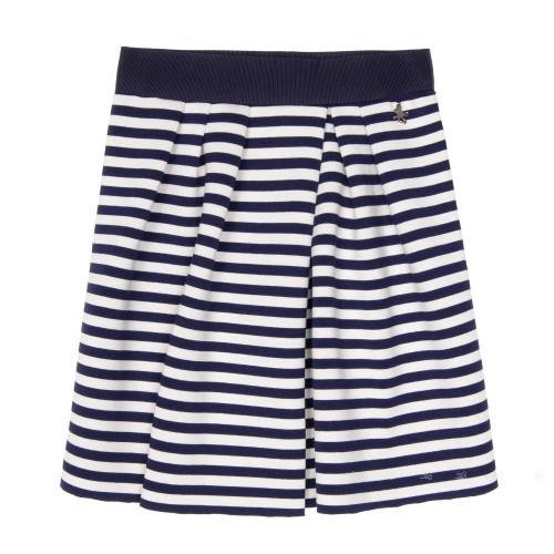 Navy Blue & White Neoprene Jersey Skirt