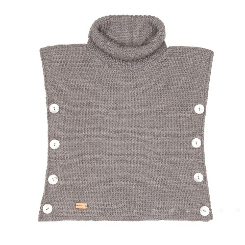 Girls Gray Knitted Poncho