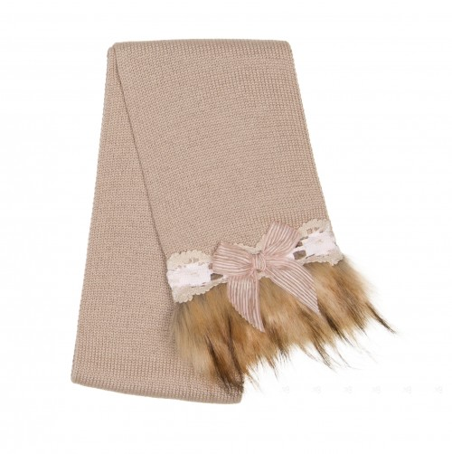 Beige Knitted Scarf with Synthetic Fur Adornment