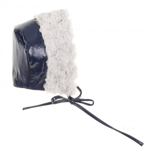 Navy Blue Patent Fleece Lined Bonnet with Synthetic Fur