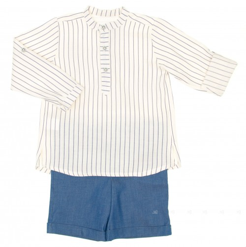 Boys White Striped Shirt & Denim Shorts Set