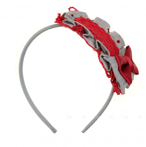 Gray & Red Polka Dot Hairband with Bow