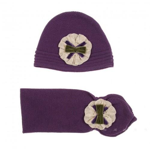 Violet Knitted Hat & Scarf Set