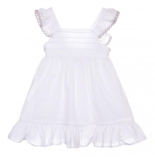 White Cotton frills and loop dress
