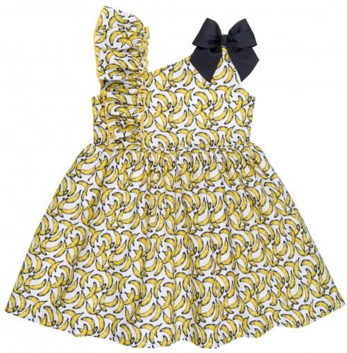 Mon Petit Bonbon Vestido Niña Estampado Plátanos & Tirantes Asimétricos