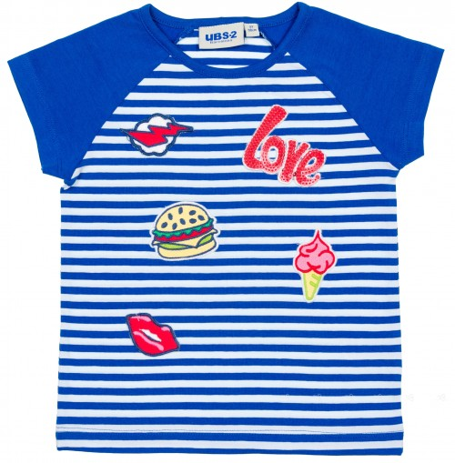 Girls Blue Striped T-Shirt with Patches