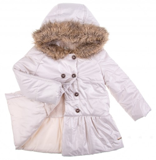 Pearl Grey Peplum Coat with Synthetic Fur Hood