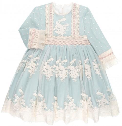 Chari Sierra Vestido Niña Vuelo Tul Bordado Azul Empolvado