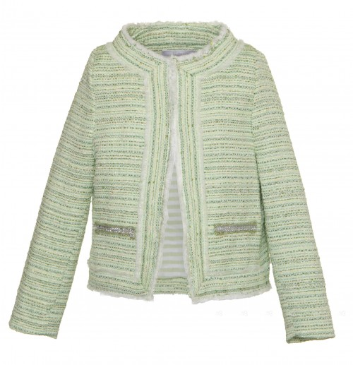 Green Tweed Blazer with Diamanté