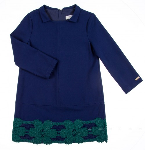 Navy Blue Roma Knit Dress with Green Crochet Hem