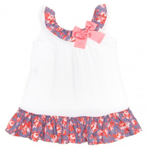 White & Plum Floral Cotton Beach Dress with bow