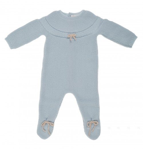 Pale blue knitted Babygrow