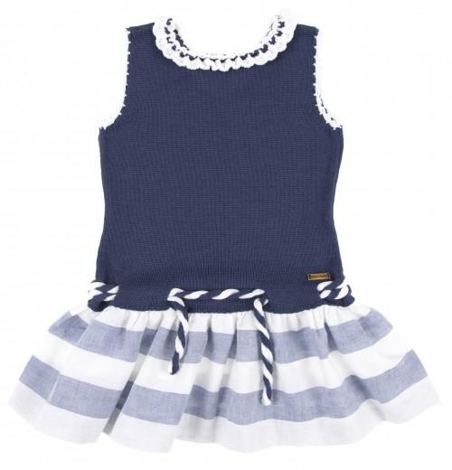 Navy Blue Knitted Top & Stripe Skirt Sailor Dress