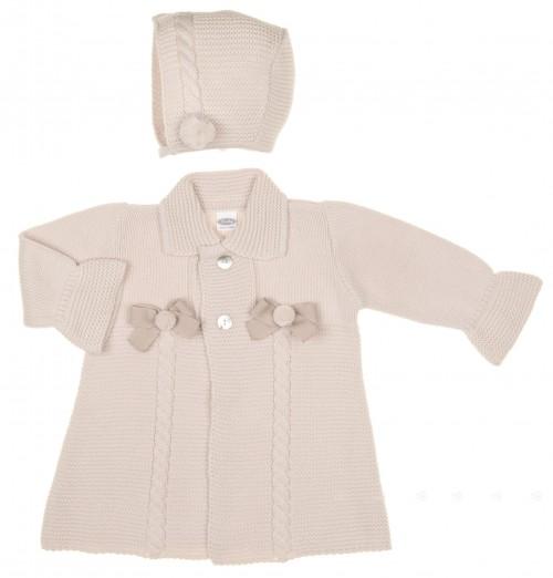 Beige Knitted Coat & Bonnet Set