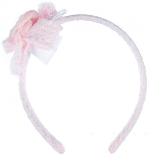 Rochy Diadema Niña Estampado Pata de Gallo Rosa & Lazo con Flor