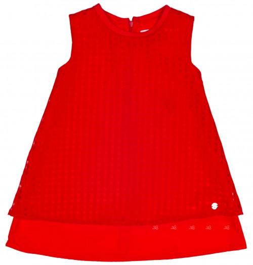 Girls Red Cotton & Organza Shift Dress