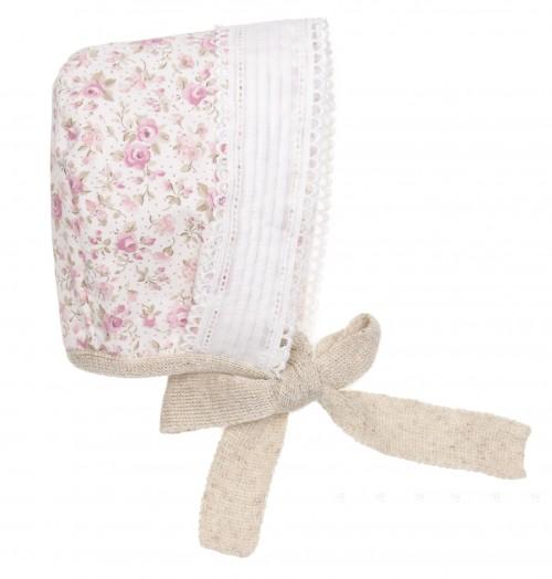 Pink & Beige Floral Bonnet