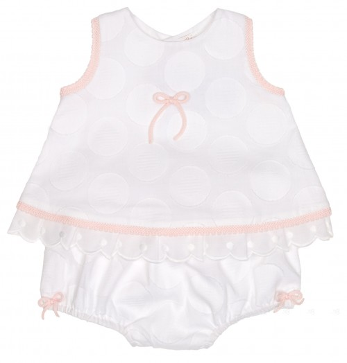 Baby Pink & White Dress & Frilly Knickers Set