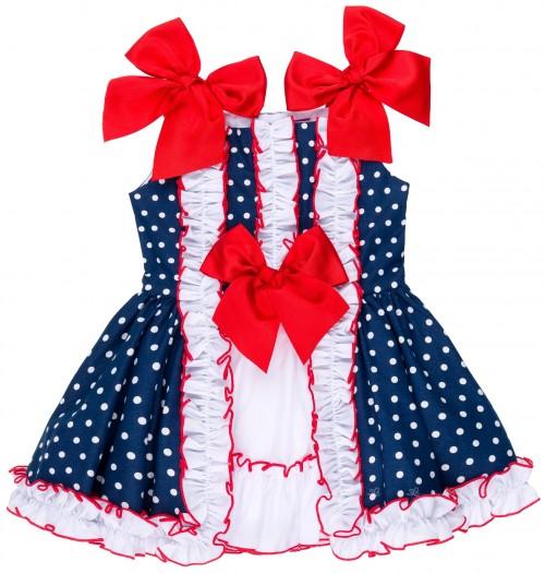 Nini Moda Infantil Vestido Niña Lunares Marino & Lazos Rojos