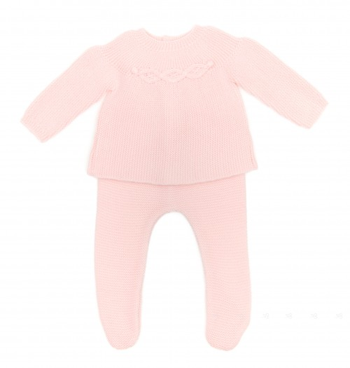 Pale Pink 2 Piece Soft Knitted Babygrow