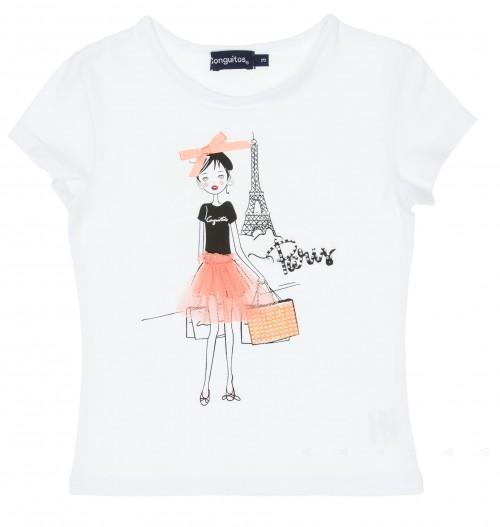 White Cotton Girl in Paris Printed T-Shirt