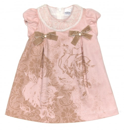Girls Pink & Beige Synthetic Suede Dress