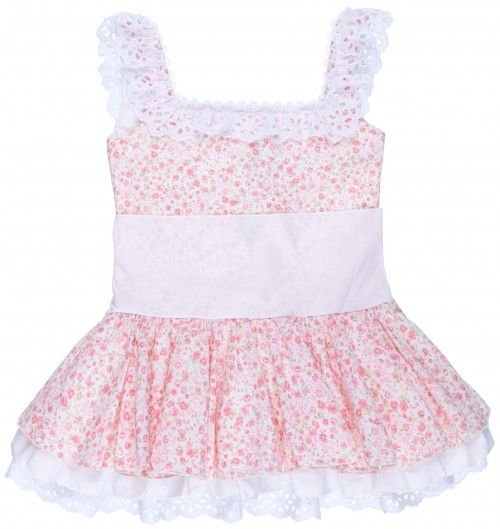 Badum Badero Vestido Niña Talle Bajo Estampado Liberty Rosa & Maxi Lazada Blanca