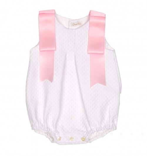 White Cotton Shortie with pink bows