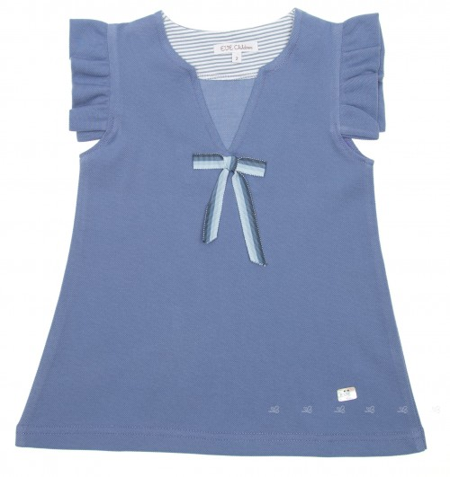 Blue Pique Jersey Dress with bow