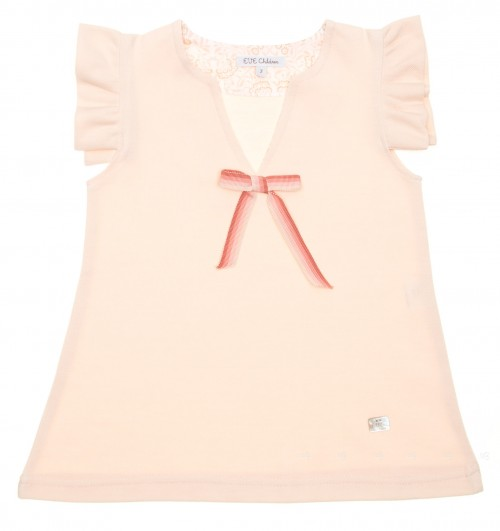 Peony Pink Pique Jersey Dress with bow