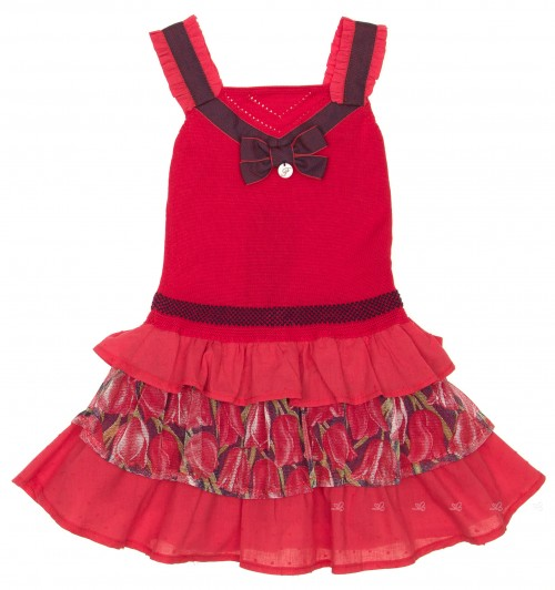 Red Cotton Knitted &  Polka Dot Tulpis Dress
