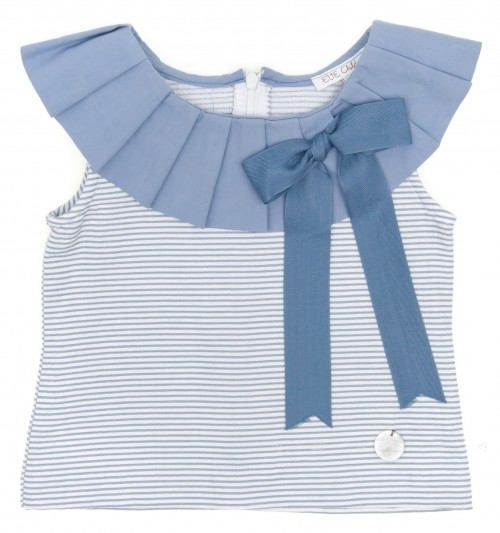 Blue Striped Top with Bow
