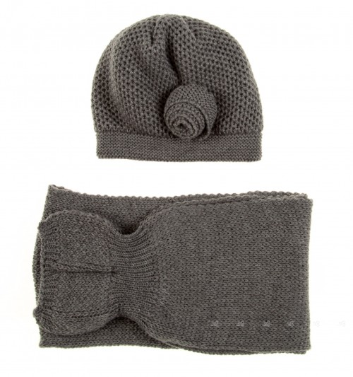 Grey Knitted Hat & Scarf Set with Rosette Applique