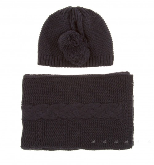 Dark Blue Knitted Hat & Scarf Set with Pompoms