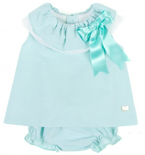 Aquamarine & White Stripe Dress & Knickers Set
