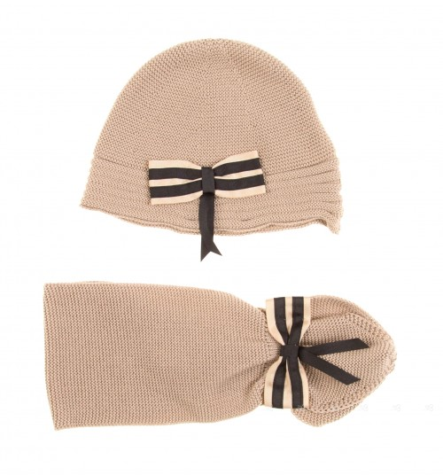 Beige Knitted Hat & Scarf Set