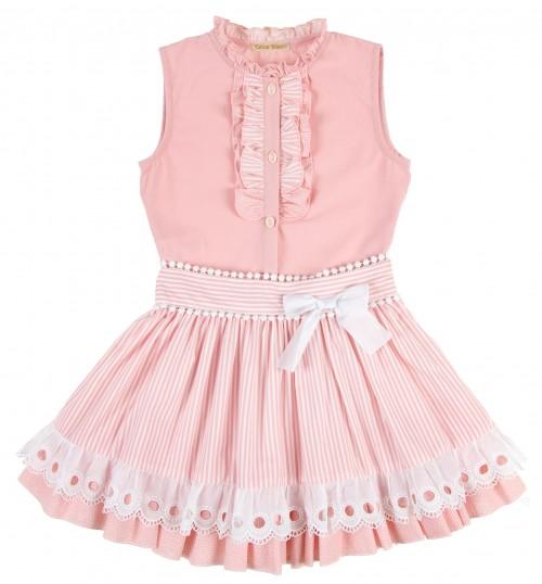 Pink Cotton Lace Stripe Blouse & Ruffle Skirt Set