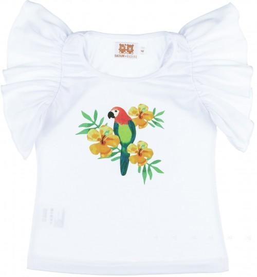 Badum Badero Camiseta Niña Manga Mariposa Blanca & Loros