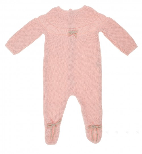 Pale pink knitted babygrow