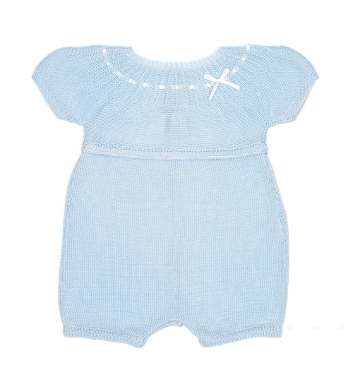 Blue & White Knitted Cotton Shortie