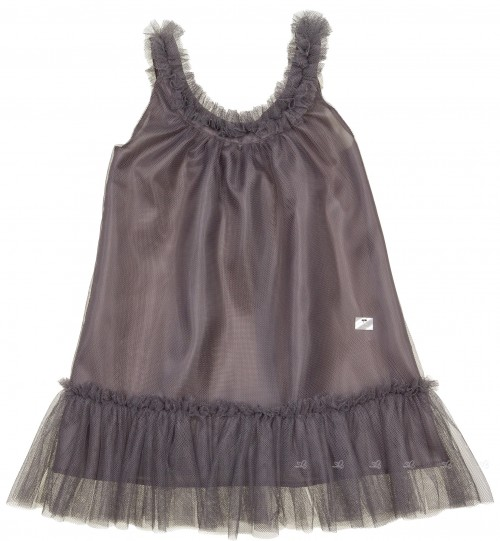 Girls Grey Tulle Dress with Velvet Bow