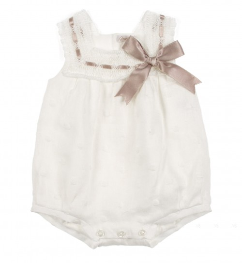 Ivory Embroidered Polka Dots Shortie With Bow