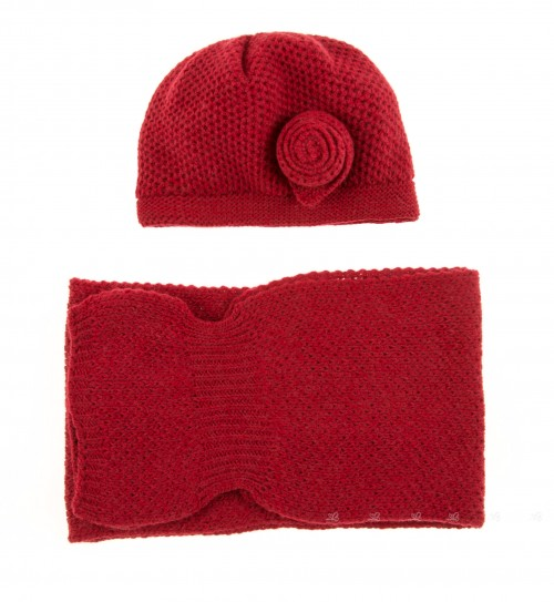 Red Knitted Hat & Scarf Set with Rosette Applique